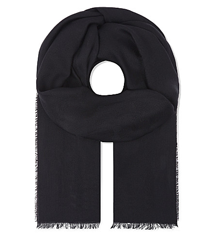 TED BAKER Aubre bow-print wool and silk-blend scarf (Black