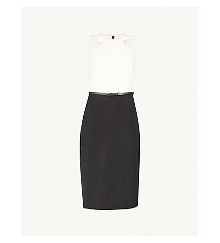 TED BAKER Twist-neck woven pencil dress (Black