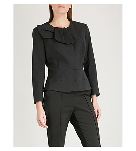 TED BAKER Bow neck woven peplum jacket (Black