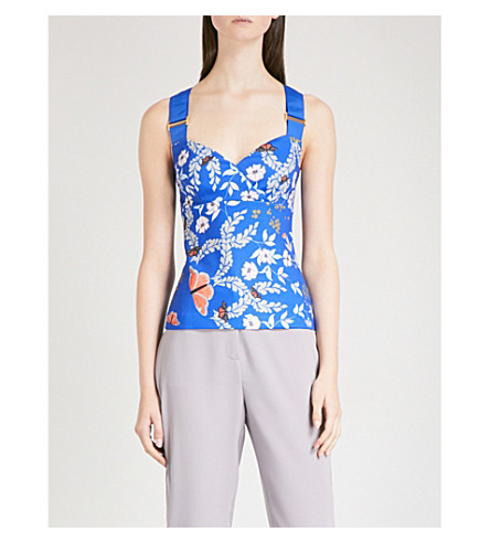 TED BAKER Kyoto Gardens crossover straps top (Bright+blue