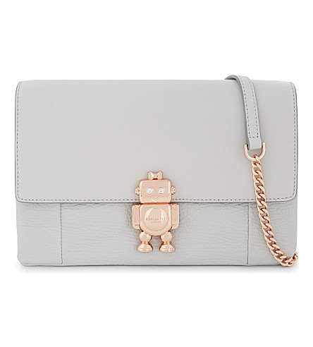 TED BAKER Robot leather cross-body bag (Light+grey