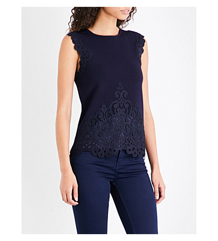 TED BAKER Kaylane lace-trim knitted top (Navy
