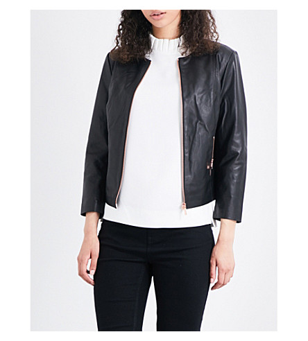 TED BAKER Fai printed-lining leather jacket (Black