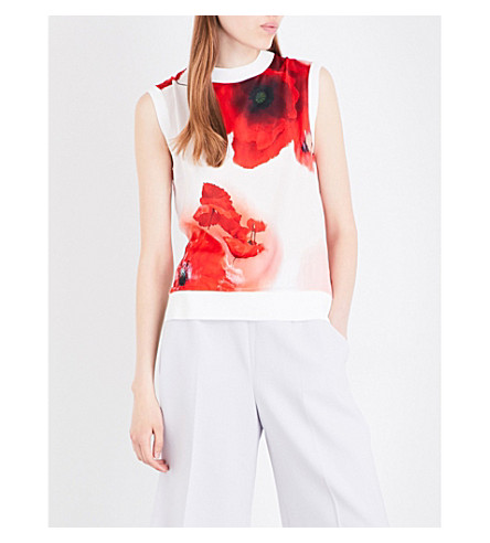 TED BAKER Maidai floral satin top (White