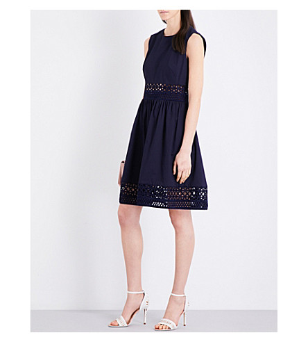 TED BAKER Cutwork stretch-cotton dress (Navy