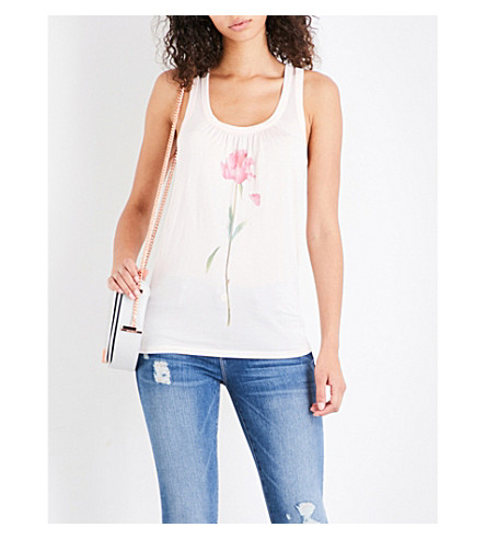 TED BAKER Polyna Sketchbook Floral-print mesh top (Baby+pink