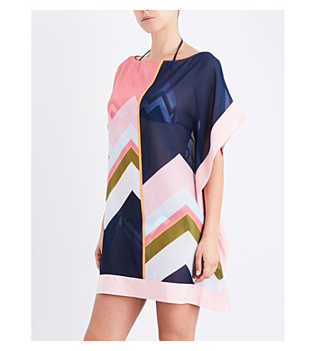 TED BAKER Mississippi chiffon cover-up (Mid+blue