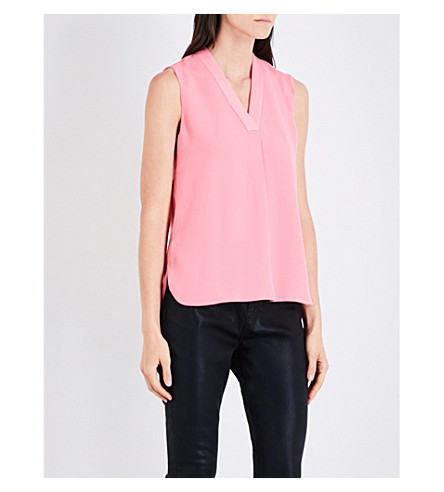 TED BAKER Sleeveless pleat-detail crepe top (Coral
