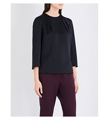 TED BAKER Curved hem crepe top (Black