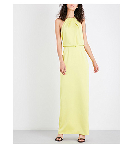 TED BAKER Angeli chain-detail halterneck crepe maxi dress (Mid+green