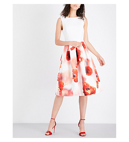 TED BAKER Micla floral fit-and-flare satin and twill dress (White