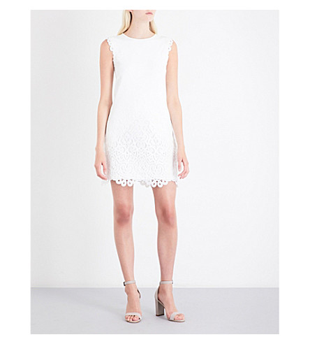 TED BAKER Lace-trimmed knitted dress (White