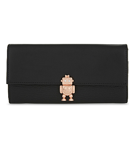 TED BAKER Jemo robot leather matinee wallet (Black