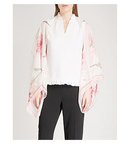 TED BAKER Sorayah Sketchbook floral-print silk cape scarf (Ecru
