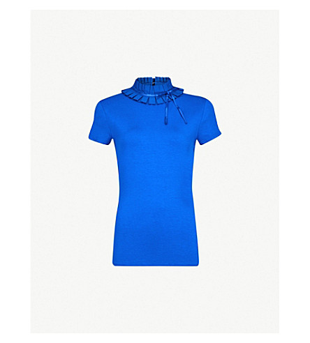 TED BAKER Ruffle neck T-shirt (Bright+blue