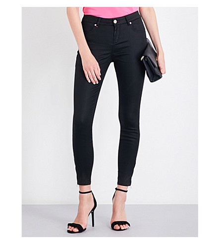 TED BAKER Dalilah wax-coated skinny mid-rise jeans (Black