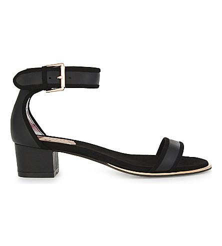 TED BAKER 菲德尔·卡斯特罗·鲁斯 metalllic 高跟鞋凉鞋 (黑色