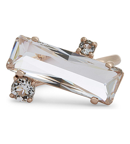TED BAKER Brijit crystal baguette ring (Clear