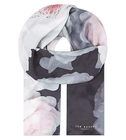 TED BAKER Chimea Chelsea floral-print silk skinny scarf (Black