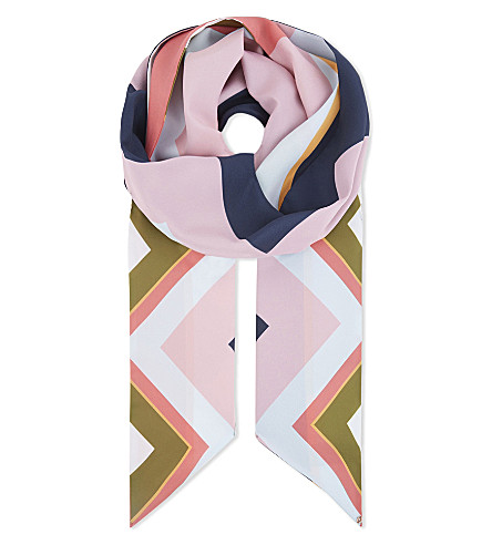 TED BAKER Mississippi chevron skinny scarf (Mid+blue