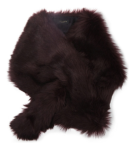 TED BAKER Emrina faux-fur scarf (Maroon