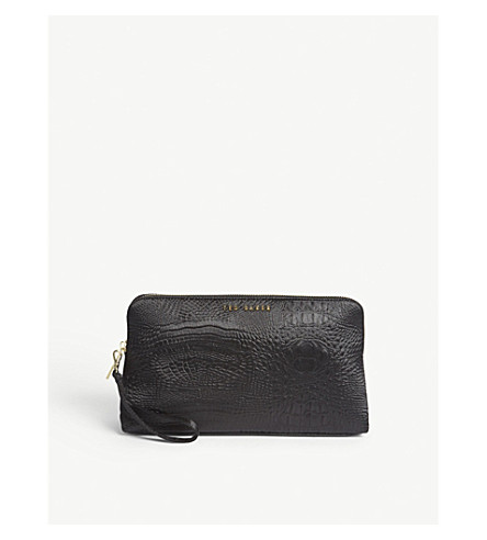 TED BAKER Loulou exotic-embossed wash bag (Black