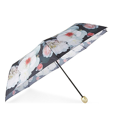 TED BAKER Chelsea floral telescopic umbrella (-black