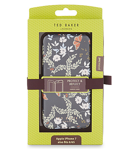 TED BAKER Kyoto floral mirrored iPhone case (Mid+blue