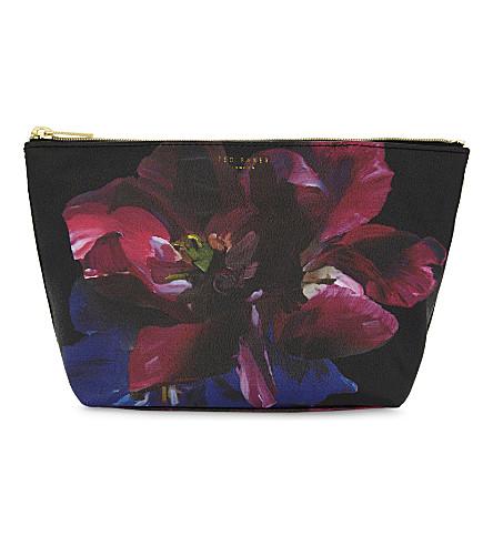 TED BAKER Impressionist Bloom floral make-up bag (Black