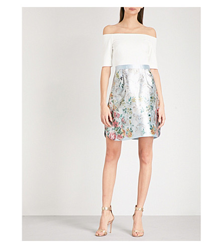 TED BAKER Dewrose off-the-shoulder woven dress (Pale+blue