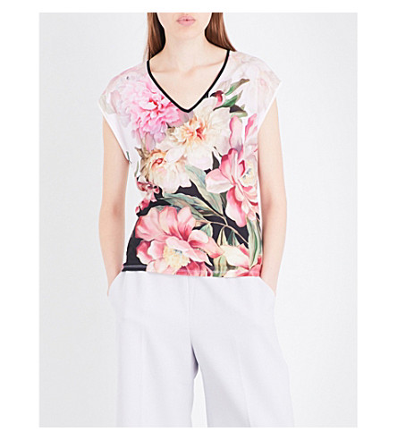 TED BAKER Ilenia floral woven T-shirt (Baby+pink