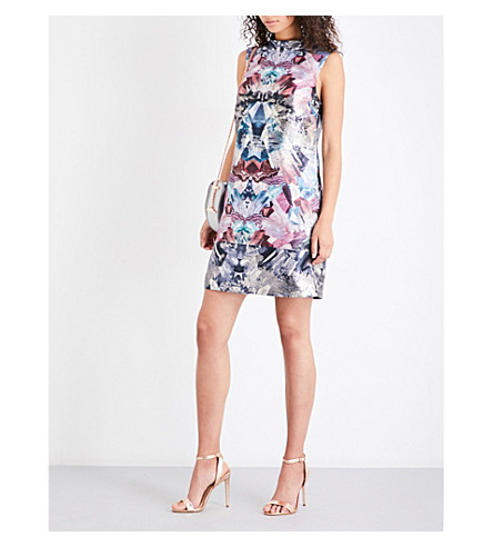 TED BAKER Heidy Mirrored Minerals-print jacquard tunic dress (Mid+grey