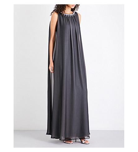 TED BAKER Embellished chiffon maxi dress (Black