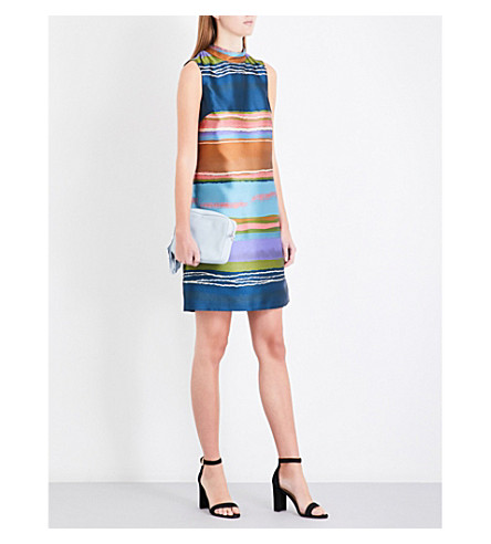 TED BAKER Ivara striped satin-jacquard dress (Navy