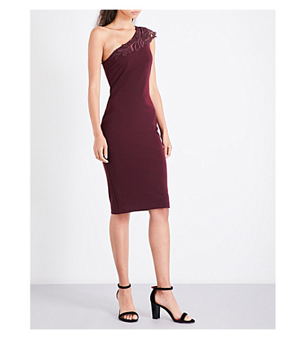 TED BAKER Lace-detail crepe dress (Maroon