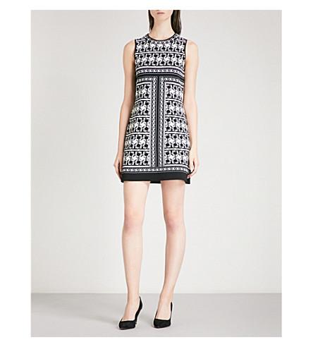 TED BAKER Tesselation 几何图案提花针织连衣裙 (黑色