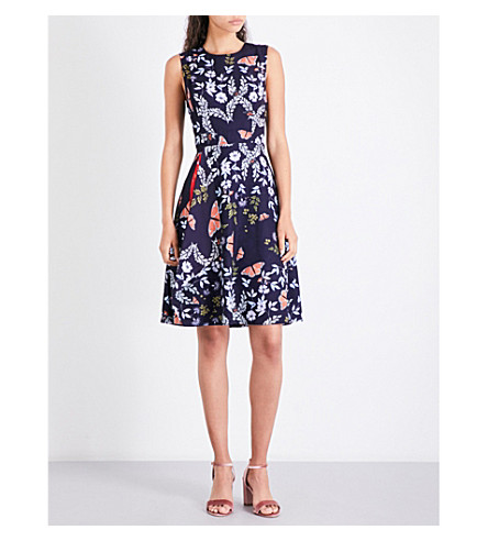 TED BAKER Jennesa floral-print crepe dress (Mid+blue