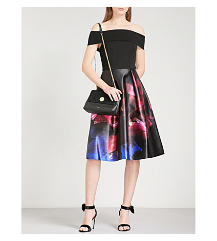 TED BAKER Kimey Impressionist-print satin and jersey dress (Black