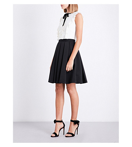 TED BAKER Kimika pleated chiffon and grosgrain dress (Black