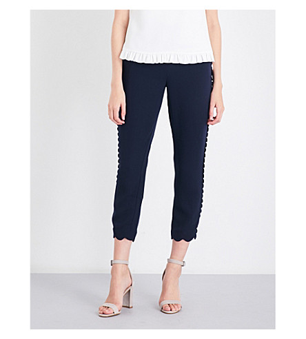 TED BAKER Dyanni scalloped cropped woven trousers (Navy