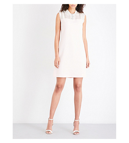 TED BAKER Kyilee frill-detail crepe dress (Nude+pink