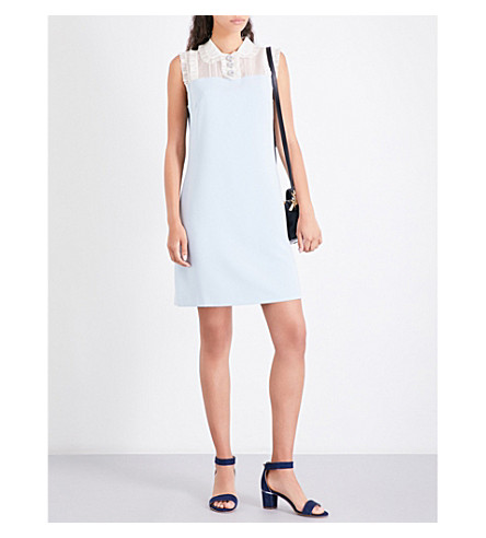 TED BAKER Kyilee frill-detail crepe dress (Pale+blue