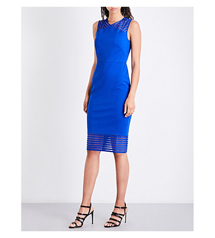 TED BAKER Lucette mesh-panel woven dress (Bright+blue