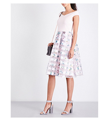 TED BAKER Lulou floral-print jersey and organza dress (Nude+pink