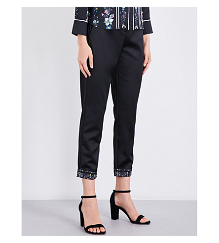 TED BAKER Mid-rise skinny cropped satin trousers (Black