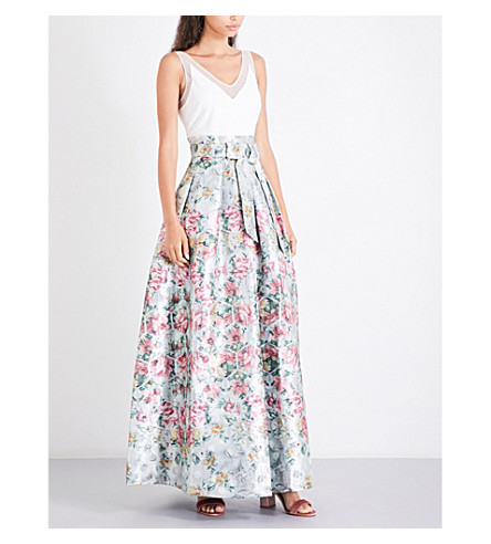 TED BAKER Meigan floral-jacquard maxi dress (Pale+blue