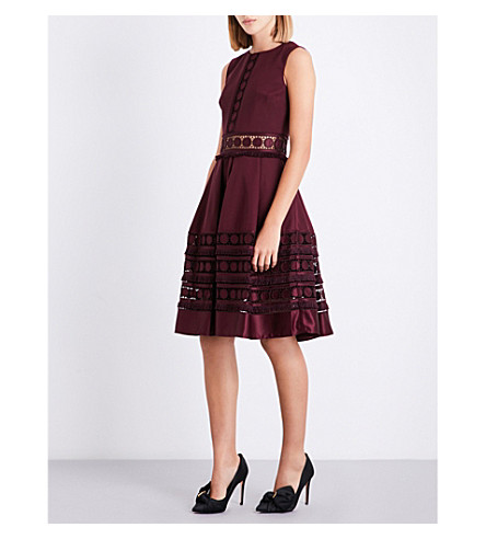 TED BAKER Olym embroidered-trim crepe dress (Maroon