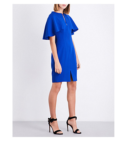TED BAKER Porisa caped-layer crepe dress (Bright+blue