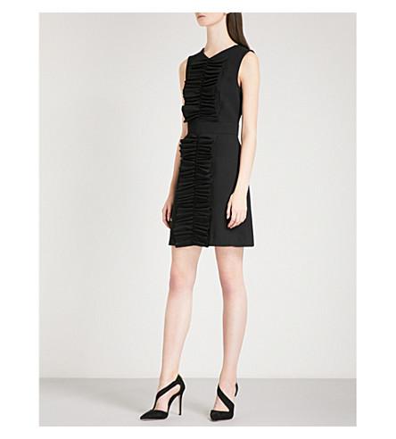 TED BAKER Swanste A 线褶皱编织连衣裙 (黑色