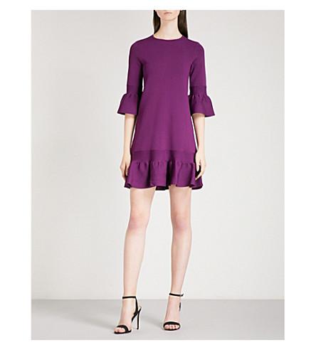 TED BAKER Tynia peplum-sleeve knitted dress (Deep+purple